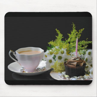 Tea cake and flowers a ladies dream Birthday Mouse Pad