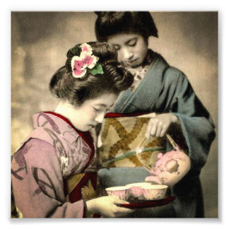 Tea for Two Geisha in Old Japan Vintage Japanese Photo Print