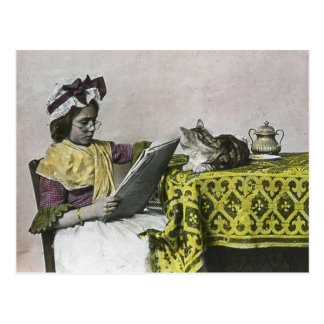 Tea for Two Party Vintage Victorian KItty Cat Girl Postcard
