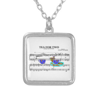 Tea For Two Teacups ~ Sheet Music Background Silver Plated Necklace