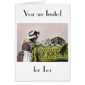 Tea For Two Victorian Girl and Kitty Tea Party Card