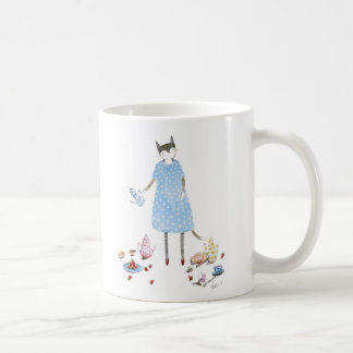 Tea Party Cat in a Karen Walker Dress Coffee Mug