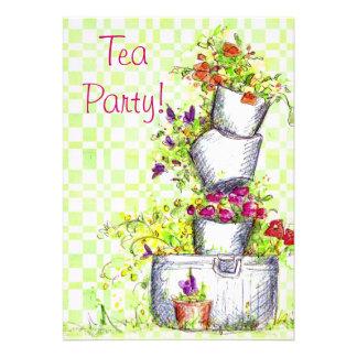 Tea Party Invitations Cottage Garden Flower Bucket