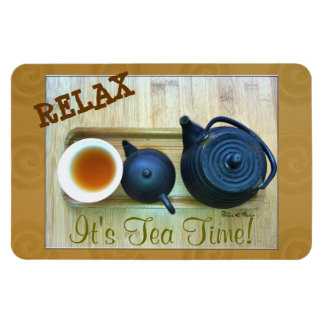 Tea Setting Photograph Overhead View Vinyl Magnets