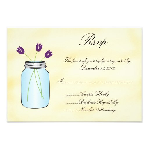 Tea Stained Mason Jar Purple Tulips RSVP Card