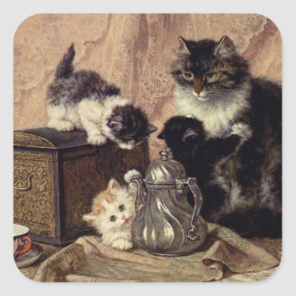 Tea Time for Kittens Square Sticker