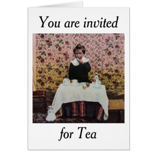 Tea Time for One Vintage Victorian Little Boy Card