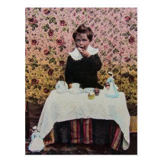 Tea Time for One Vintage Victorian Little Boy Postcard