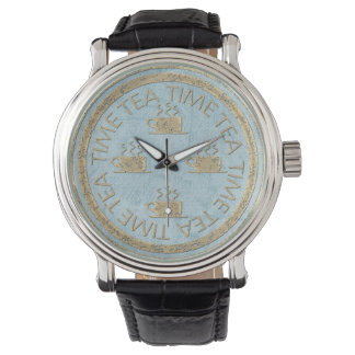 Tea Time Gold on Pastel Blue Watch