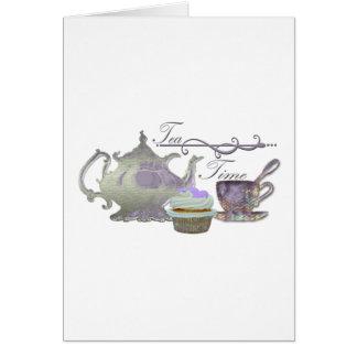 Tea Time! Lilac Teapot, Teacup and Cupcake Art Greeting Card