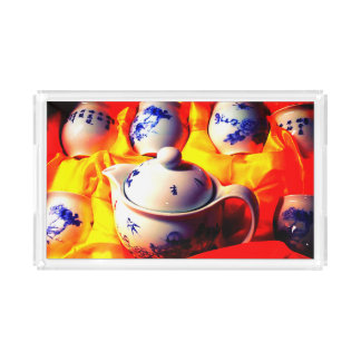 Tea Tray with Image of Chinese Tea Set