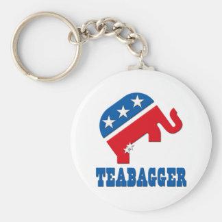 Teabagger Republican Democrat Tea Party Politics Key Ring