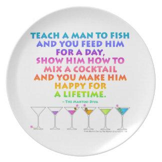 Teach a Man to Mix a Cocktail Martini Zen Plate