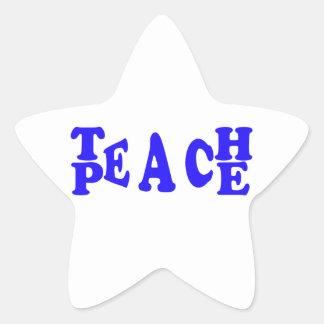 Teach Peace In Blue Font Star Sticker