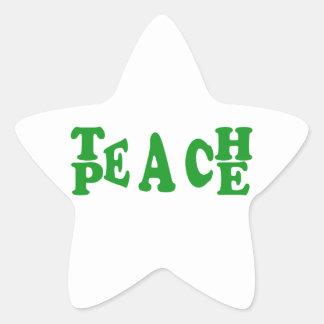 Teach Peace In Dark Green Font Star Sticker