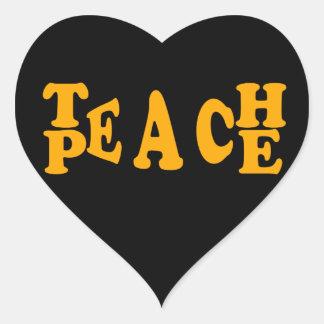Teach Peace In Orange Font Heart Sticker