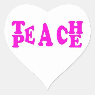 Teach Peace In Pink Font Heart Sticker