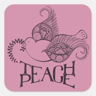 Teach Peace Stickers Henna Inspired Original Desig