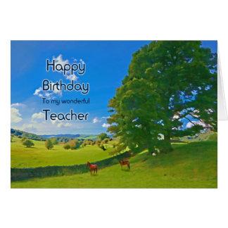 Teacher, a Pastoral landscape Birthday card