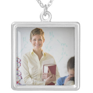Teacher and student in science lab silver plated necklace