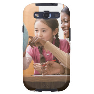 Teacher and student looking at globe galaxy s3 cases