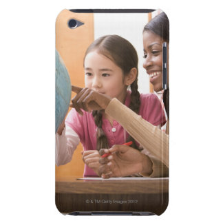Teacher and student looking at globe iPod touch cases