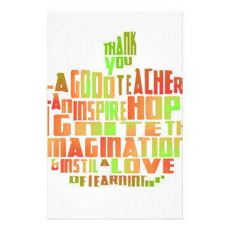 Teacher Gift Keepsake Apple Quote Thank You Stationery