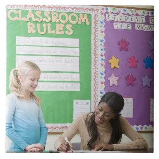 Teacher grading girls paper in classroom tile