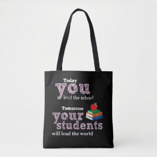 Teacher quote typography tote bag
