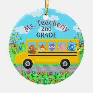Teacher Thank You Custom Name   Cute Bus Animals Round Ceramic Decoration