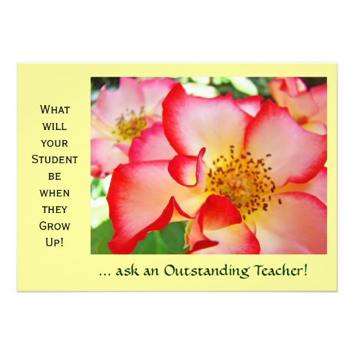 Teacher's Event Invitations Awards Nature Roses