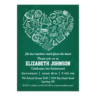 Teachers Heart Retirement Party Invitation