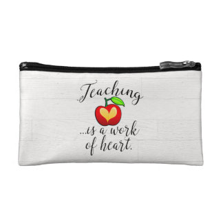 Teaching is a Work of Heart Teacher Appreciation Makeup Bag