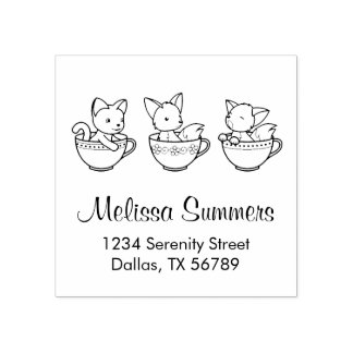 Teacup Baby Animals - Kitten and Foxes Address Rubber Stamp