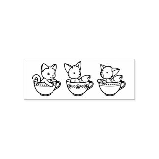 Teacup Baby Animals - Kitten and Foxes Self-inking Stamp