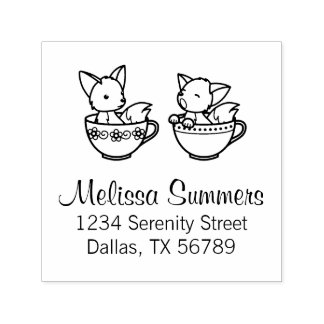 Teacup Foxes Address Self-inking Stamp