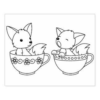 Teacup Foxes - Baby Animals in a Cup Coloring Page Rubber Stamp