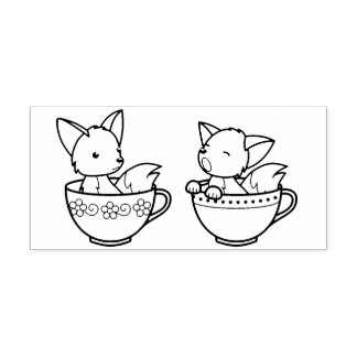 Teacup Foxes - Baby Animals in a Cup Rubber Stamp