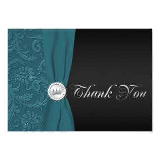 Teal and Black Damask Quinceanera Thank You Card 13 Cm X 18 Cm Invitation Card