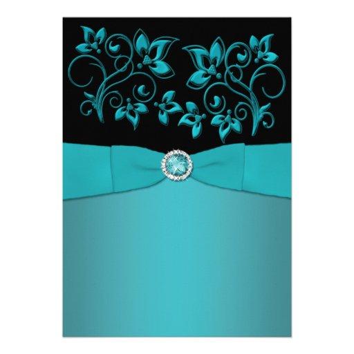 Teal and Black Floral Jewelled Wedding Invitation