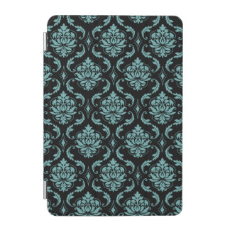 Teal and Black Vintage Damask Pattern iPad Mini Cover