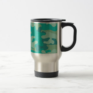 Teal and Blue Camo Stainless Steel Travel Mug