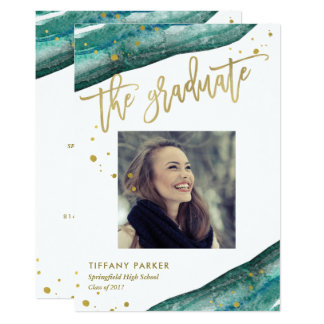 Teal and Faux Gold Geode Graduation Party | Photo Card