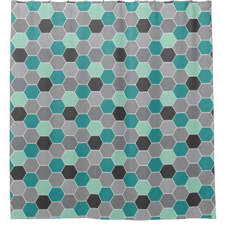 Teal and Gray Honeycomb Pattern Shower Curtain