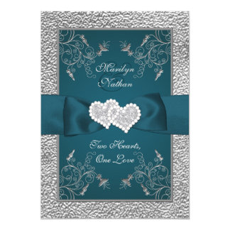Teal and Grey Joined Hearts Wedding Invite