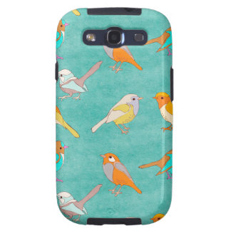Teal and Orange Colorful Birds Pattern Turquoise Galaxy S3 Covers