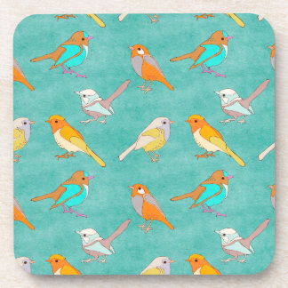 Teal and Orange Colorful Birds Pattern Turquoise Drink Coasters