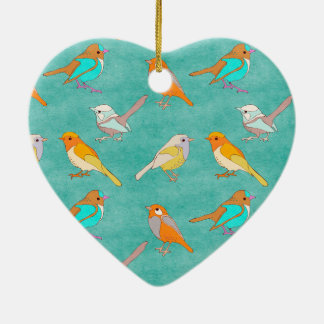 Teal and Orange Colorful Birds Pattern Turquoise Ornaments