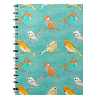 Teal and Orange Colorful Birds Pattern Turquoise Notebooks