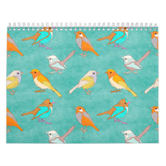 Teal and Orange Colorful Birds Pattern Turquoise Wall Calendar